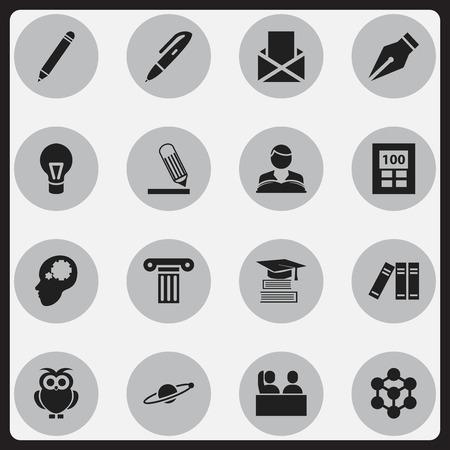 Ensemble de 16 icônes de science modifiables. Inclut des symboles tels que l'étudiant, l'étude de garçon, l'astrologie et plus. Peut être utilisé pour Web, Mobile, UI et conception infographique.