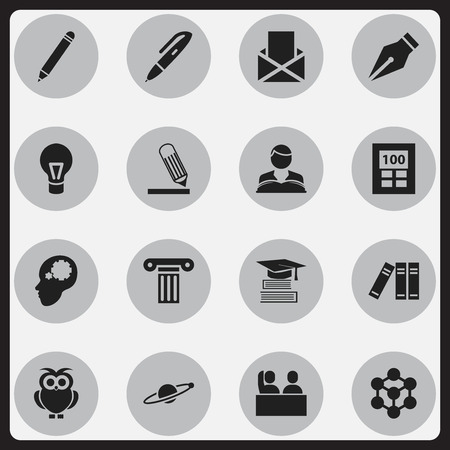 perusal: Set Of 16 Editable Science Icons. Includes Symbols Such As Student, Studying Boy, Astrology And More. Can Be Used For Web, Mobile, UI And Infographic Design. Illustration