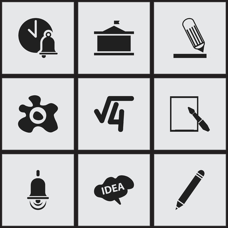 univercity: Set Of 9 Editable Science Icons. Includes Symbols Such As Univercity, Pencil, School Bell And More. Can Be Used For Web, Mobile, UI And Infographic Design. Illustration