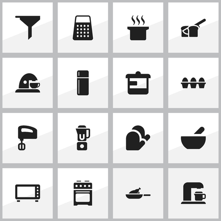 Set Of 16 Editable Cooking Icons. Includes Symbols Such As Egg Carton, Cup, Bakery And More. Can Be Used For Web, Mobile, UI And Infographic Design. Illustration