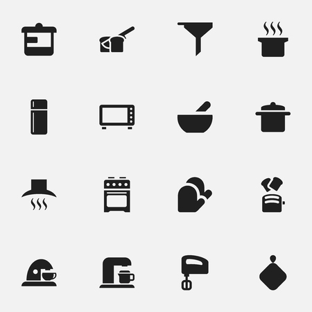 Set Of 16 Editable Cook Icons. Includes Symbols Such As Bakery, Agitator, Stove And More. Can Be Used For Web, Mobile, UI And Infographic Design.