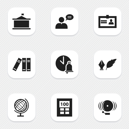 Set Of 9 Editable Education Icons. Includes Symbols Such As School Bell, Certification, Calculator And More. Can Be Used For Web, Mobile, UI And Infographic Design. Illustration