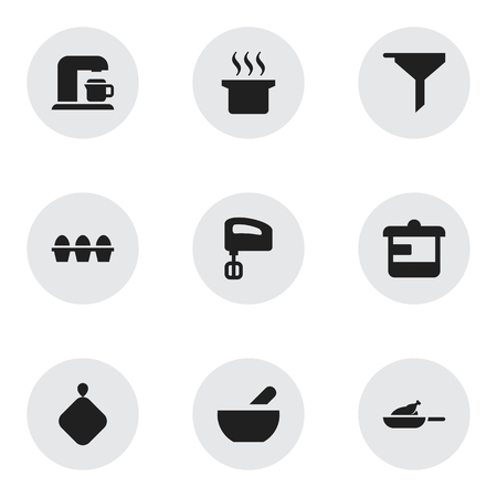 Set Of 9 Editable Cook Icons. Includes Symbols Such As Filtering, Utensil, Soup Pot And More. Can Be Used For Web, Mobile, UI And Infographic Design.