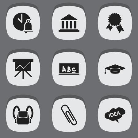 Ensemble de 9 icônes scolaires modifiables. Inclut des symboles tels que des agrafes, médaillon de la victoire, esprit et plus encore. Peut être utilisé pour Web, Mobile, UI et conception infographique.