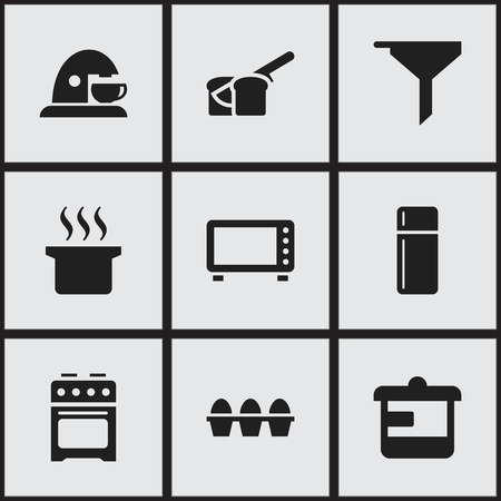 Set Of 9 Editable Cooking Icons. Includes Symbols Such As Soup Pot, Bakery, Stove And More. Can Be Used For Web, Mobile, UI And Infographic Design.