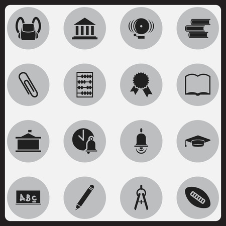 Set Of 16 Editable University Icons. Includes Symbols Such As School Bell, Ring, Staple And More. Can Be Used For Web, Mobile, UI And Infographic Design. Illustration
