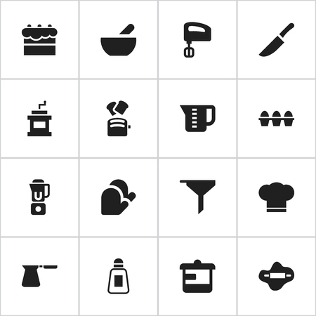 Set Of 16 Editable Cook Icons. Includes Symbols Such As Filtering, Soup, Utensil And More. Can Be Used For Web, Mobile, UI And Infographic Design.