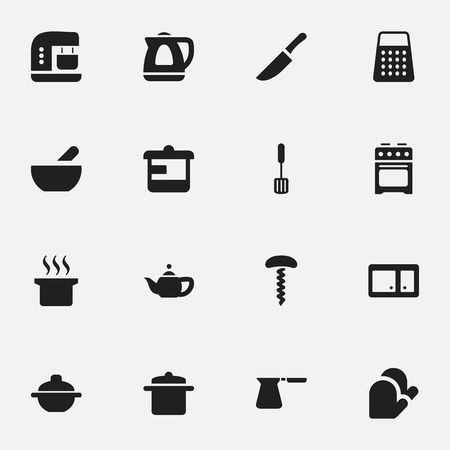 boiler: Set Of 16 Editable Cook Icons. Includes Symbols Such As Shredder, Stove, Saucepan And More. Can Be Used For Web, Mobile, UI And Infographic Design.