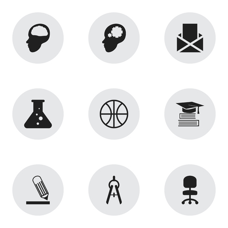 Set Of 9 Editable School Icons. Includes Symbols Such As Cerebrum, Envelope, Writing And More. Can Be Used For Web, Mobile, UI And Infographic Design. Illustration
