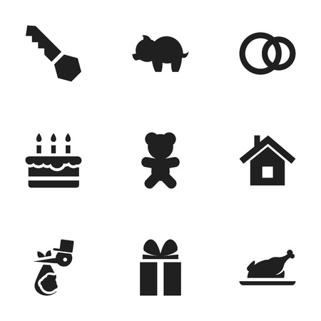 Set Of 9 Editable Folks Icons. Includes Symbols Such As Home, Fried Chicken, Moneybox And More. Can Be Used For Web, Mobile, UI And Infographic Design.