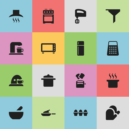 Set Of 16 Editable Cooking Icons. Includes Symbols Such As Drink Maker, Kitchen Glove, Slice Bread And More. Can Be Used For Web, Mobile, UI And Infographic Design.