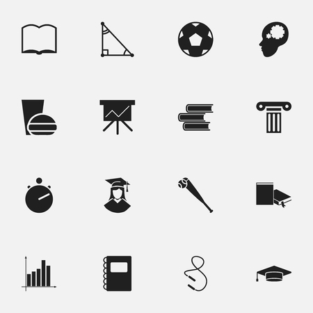 Set Of 16 Editable School Icons. Includes Symbols Such As Fast Food, Chronometer, Graph And More. Can Be Used For Web, Mobile, UI And Infographic Design.
