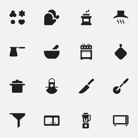 Set Of 16 Editable Meal Icons. Includes Symbols Such As Soup, Knife Roller, Shortcake And More. Can Be Used For Web, Mobile, UI And Infographic Design.