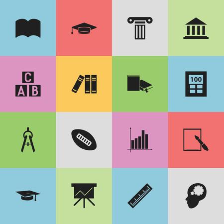 Ensemble de 16 icônes scientifiques modifiables. Comprend des symboles tels que des outils mathématiques, un musée, une idée créative, etc. Peut être utilisé pour la conception Web, mobile, UI et infographique. Vecteurs