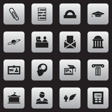 Set Of 16 Editable Science Icons. Includes Symbols Such As Pillar, Staple, Literature And More. Can Be Used For Web, Mobile, UI And Infographic Design.