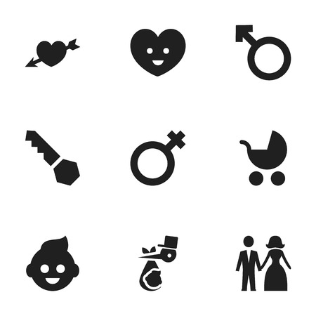 Set Of 9 Editable Family Icons. Includes Symbols Such As Married, Soul, Lock And More. Can Be Used For Web, Mobile, UI And Infographic Design. Illustration