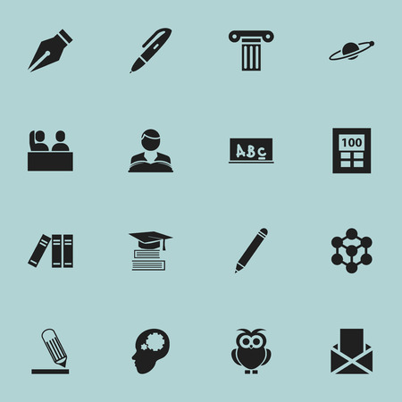 Set Of 16 Editable University Icons. Includes Symbols Such As Pillar, Molecule, Writing And More. Can Be Used For Web, Mobile, UI And Infographic Design. Illustration