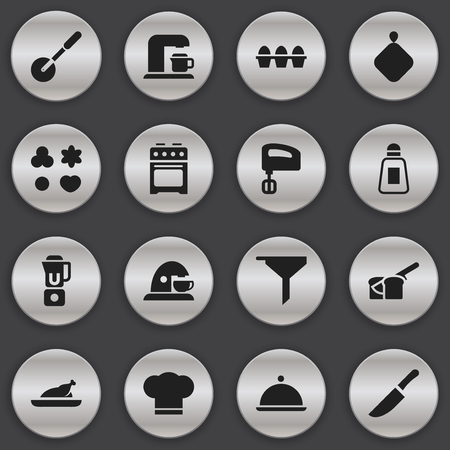 Set Of 16 Editable Food Icons. Includes Symbols Such As Egg Carton , Fried Chicken, Hand Mixer. Can Be Used For Web, Mobile, UI And Infographic Design.