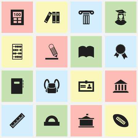 baccalaureate: Set Of 16 Editable Science Icons. Includes Symbols Such As Bookshelf, Certification, Writing And More. Can Be Used For Web, Mobile, UI And Infographic Design.