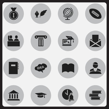 Ensemble de 16 icônes d'éducation modifiables. Comprend des symboles tels que boule ovale, pilier, cloche d'école, etc. Peut être utilisé pour la conception Web, mobile, UI et infographique. Vecteurs