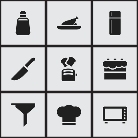 Set Of 9 Editable Food Icons. Includes Symbols Such As Cook Cap, Oven, Paprika And More. Can Be Used For Web, Mobile, UI And Infographic Design. Çizim