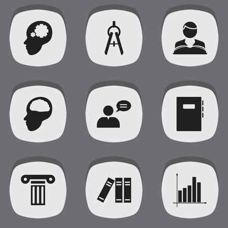 literature: Set Of 9 Editable School Icons. Includes Symbols Such As Graph, Bookshelf, Math Tool And More. Can Be Used For Web, Mobile, UI And Infographic Design.