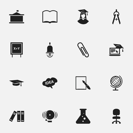 Set Of 16 Editable Graduation Icons. Includes Symbols Such As Mind, Math Tool, Book And More. Can Be Used For Web, Mobile, UI And Infographic Design. Illustration
