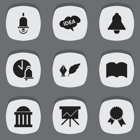 literature: Set Of 9 Editable Graduation Icons. Includes Symbols Such As Chart Board, Alarm Bell, Victory Medallion And More. Can Be Used For Web, Mobile, UI And Infographic Design.