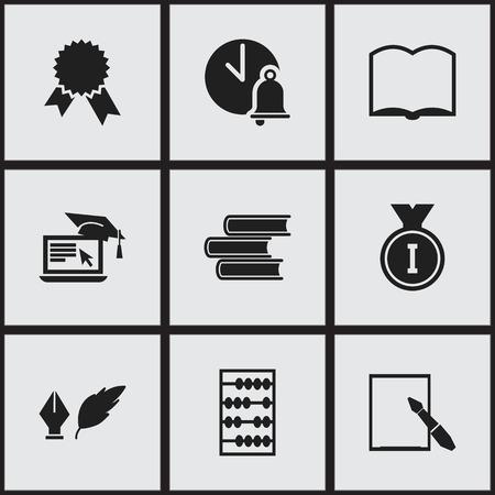 Ensemble de 9 icônes universitaires modifiables. Comprend des symboles tels que le médaillon de la victoire, la littérature, la bibliothèque, etc. Peut être utilisé pour la conception Web, mobile, UI et infographique.