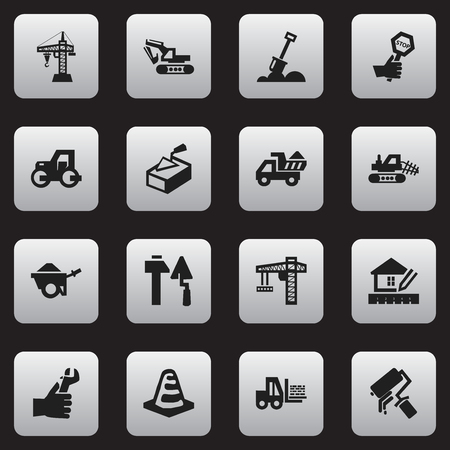 camion: Set Of 16 Editable Construction Icons. Includes Symbols Such As Construction Tools, Scrub, Caterpillar And More. Can Be Used For Web, Mobile, UI And Infographic Design.