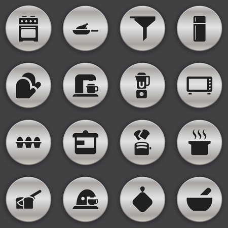 Set Of 16 Editable Cooking Icons. Includes Symbols Such As Oven , Drink Maker, Hand Mixer. Can Be Used For Web, Mobile, UI And Infographic Design.