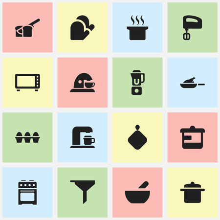 Set Of 16 Editable Meal Icons. Includes Symbols Such As Stove, Egg Carton, Cookware And More. Can Be Used For Web, Mobile, UI And Infographic Design.