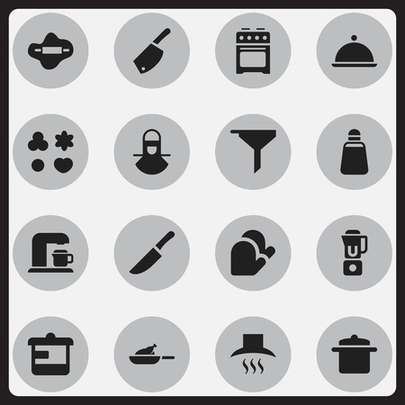 Set Of 16 Editable Cook Icons. Includes Symbols Such As Drink Maker, Kitchen Hood, Grill And More. Can Be Used For Web, Mobile, UI And Infographic Design.