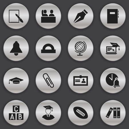Ensemble de 16 icônes universitaires modifiables. Comprend des symboles tels que l?apprentissage à distance, la boule ovale, le cahier de travail, etc. Peut être utilisé pour la conception Web, mobile, UI et infographique.