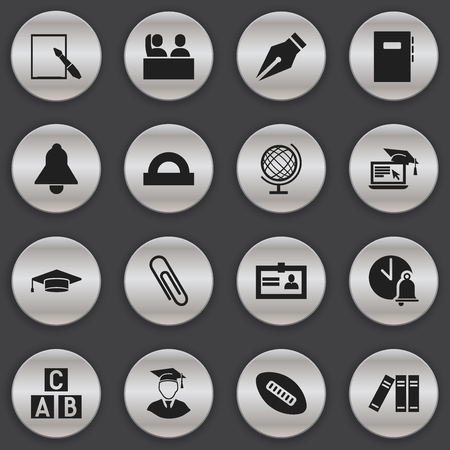 Set Of 16 Editable University Icons. Includes Symbols Such As Distance Learning, Oval Ball, Workbook And More. Can Be Used For Web, Mobile, UI And Infographic Design.