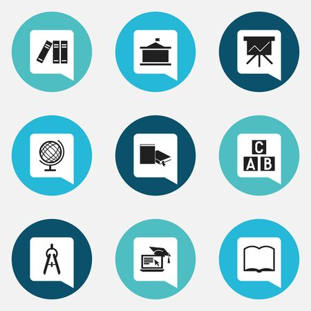 Set Of 9 Editable Education Icons. Includes Symbols Such As Math Tool, Chart Board, Book And More. Can Be Used For Web, Mobile, UI And Infographic Design.