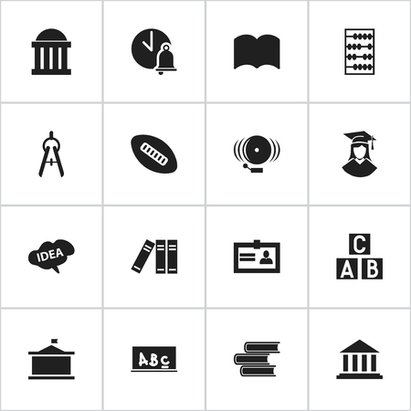 baccalaureate: Set Of 16 Editable University Icons. Includes Symbols Such As Library, Dictionary, Certification And More. Can Be Used For Web, Mobile, UI And Infographic Design.