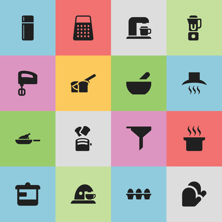 Set Of 16 Editable Cook Icons. Includes Symbols Such As Grill, Cup, Shredder And More. Can Be Used For Web, Mobile, UI And Infographic Design. Illustration