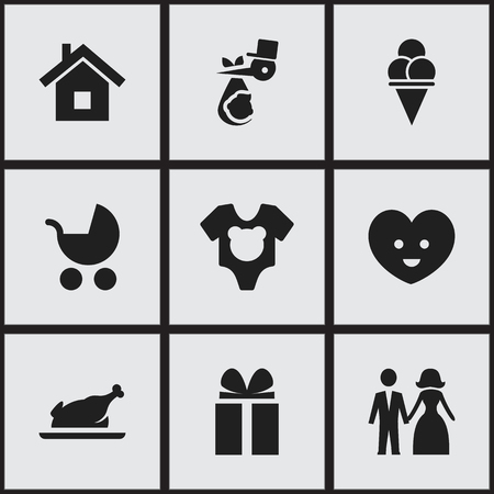 perambulator: Set Of 9 Editable Folks Icons. Includes Symbols Such As Perambulator, Soul, Married And More. Can Be Used For Web, Mobile, UI And Infographic Design.