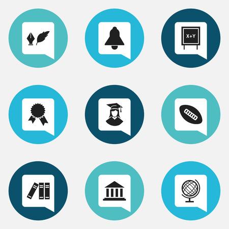 Ensemble de 9 icônes de remise des diplômes modifiables. Comprend des symboles tels que boule ovale, cloche, littérature, etc. Peut être utilisé pour la conception Web, mobile, UI et infographique.