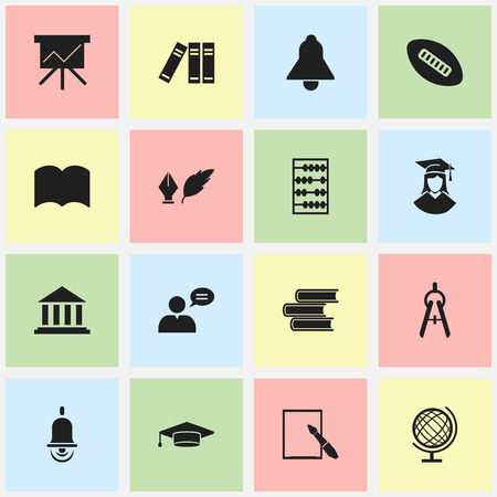 baccalaureate: Set Of 16 Editable Graduation Icons. Includes Symbols Such As Graduate, Arithmetic, Alarm Bell And More. Can Be Used For Web, Mobile, UI And Infographic Design.