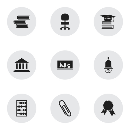 Set Of 9 Editable School Icons. Includes Symbols Such As Staple, Arithmetic, Education And More. Can Be Used For Web, Mobile, UI And Infographic Design.