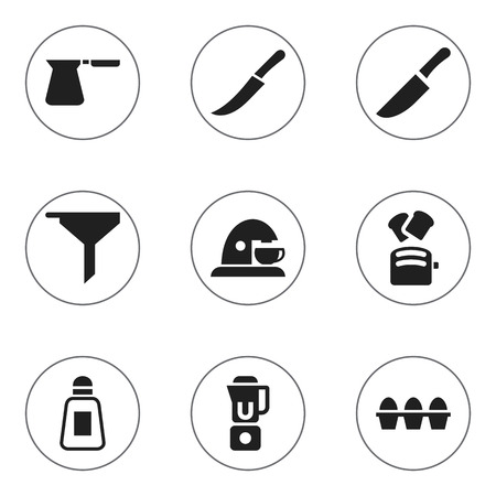 Set Of 9 Editable Meal Icons. Includes Symbols Such As Sword, Filtering, Saltshaker And More. Can Be Used For Web, Mobile, UI And Infographic Design. Çizim