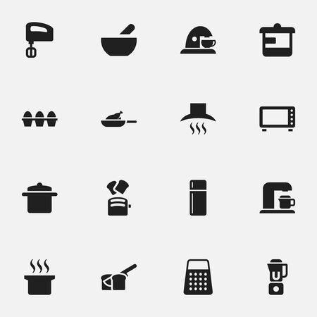 originator: Set Of 16 Editable Cook Icons. Includes Symbols Such As Kitchen Hood, Refrigerator, Slice Bread And More. Can Be Used For Web, Mobile, UI And Infographic Design.