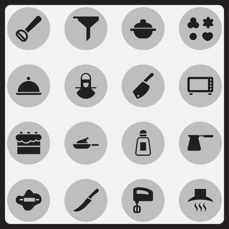 Set Of 16 Editable Cooking Icons.