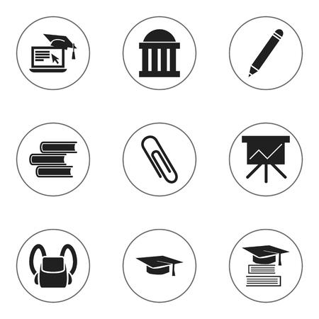 Set Of 9 Editable Graduation Icons.