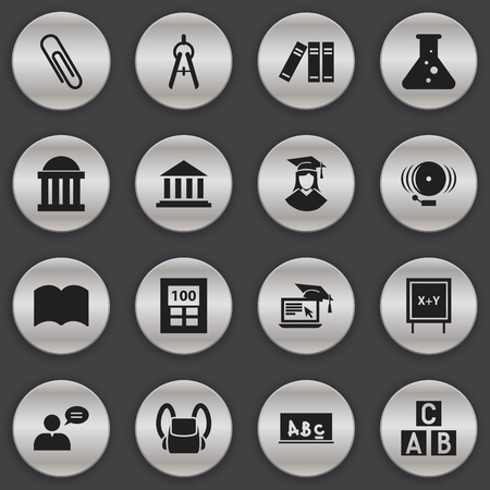 Set Of 16 Editable Science Icons. Includes Symbols Such As Alphabet Cube, Thinking Man, Dictionary And More. Can Be Used For Web, Mobile, UI And Infographic Design.