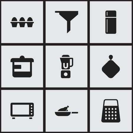 9 편집 가능한 식사 아이콘의 집합입니다. 오븐, 그릴,기구 등 기호가 포함되어 있습니다. 웹, 모바일, UI 및 인포 그래픽 디자인에 사용할 수 있습니다.