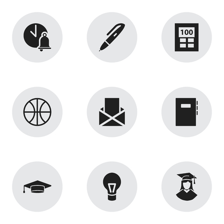 Set Of 9 Editable Education Icons. Includes Symbols Such As Workbook, School Bell, Graduate And More. Can Be Used For Web, Mobile, UI And Infographic Design. Illustration