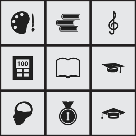 baccalaureate: Set Of 9 Editable University Icons. Includes Symbols Such As Graduate, Paint, Library And More. Can Be Used For Web, Mobile, UI And Infographic Design.